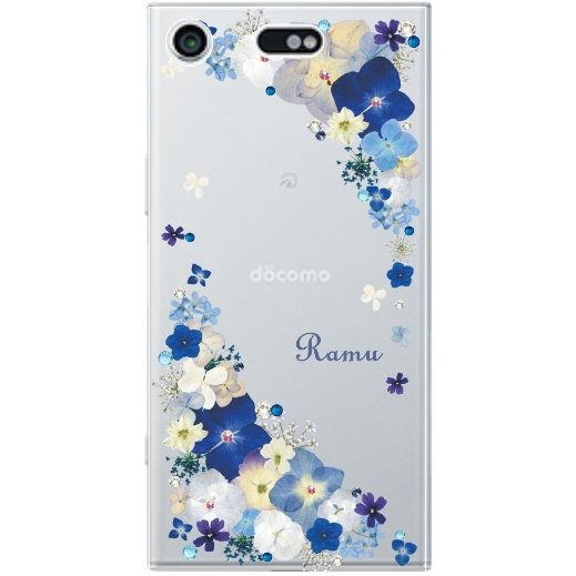 スマホケース 全機種対応 iPhone11 iphone8 XR Xperia8 5 ace xz3 ケース AQUOS sense2 galaxy s10 押し花風 スワロフスキー ビビットブルーフラワー|laugh-life|06