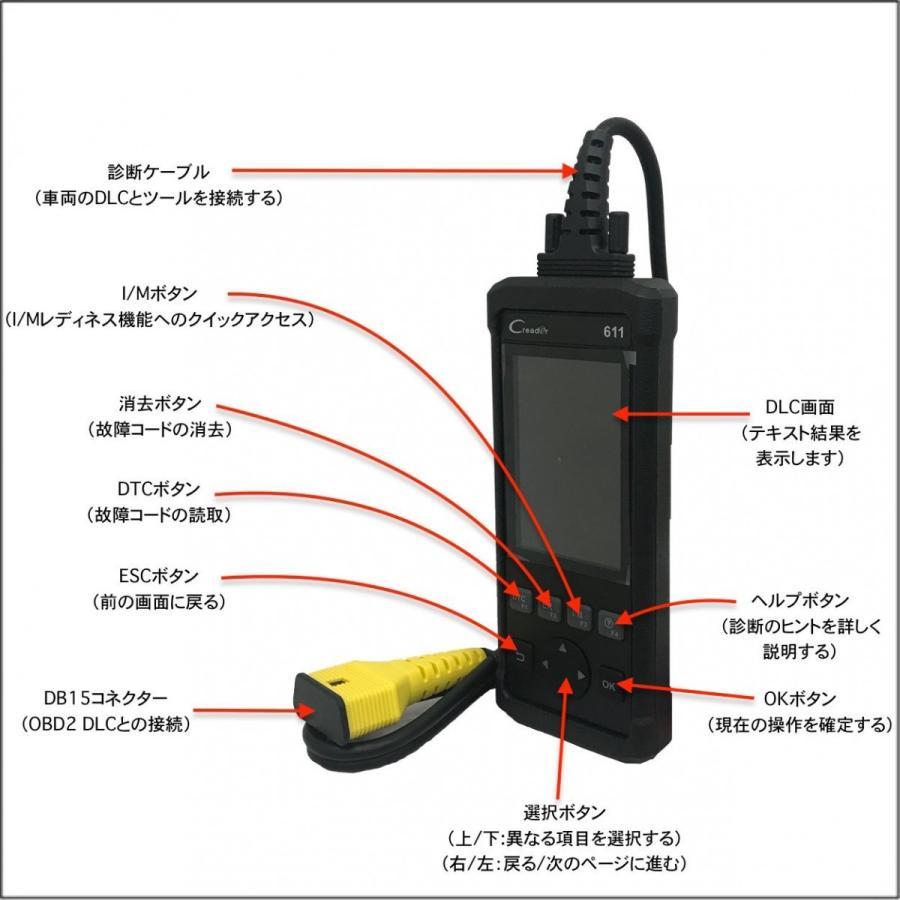 【正規輸入品】LAUNCH CR611 - obd2 スキャンツール 自動車故障診断機 日本語表示 DTC読取・消去|launch-dealer|02