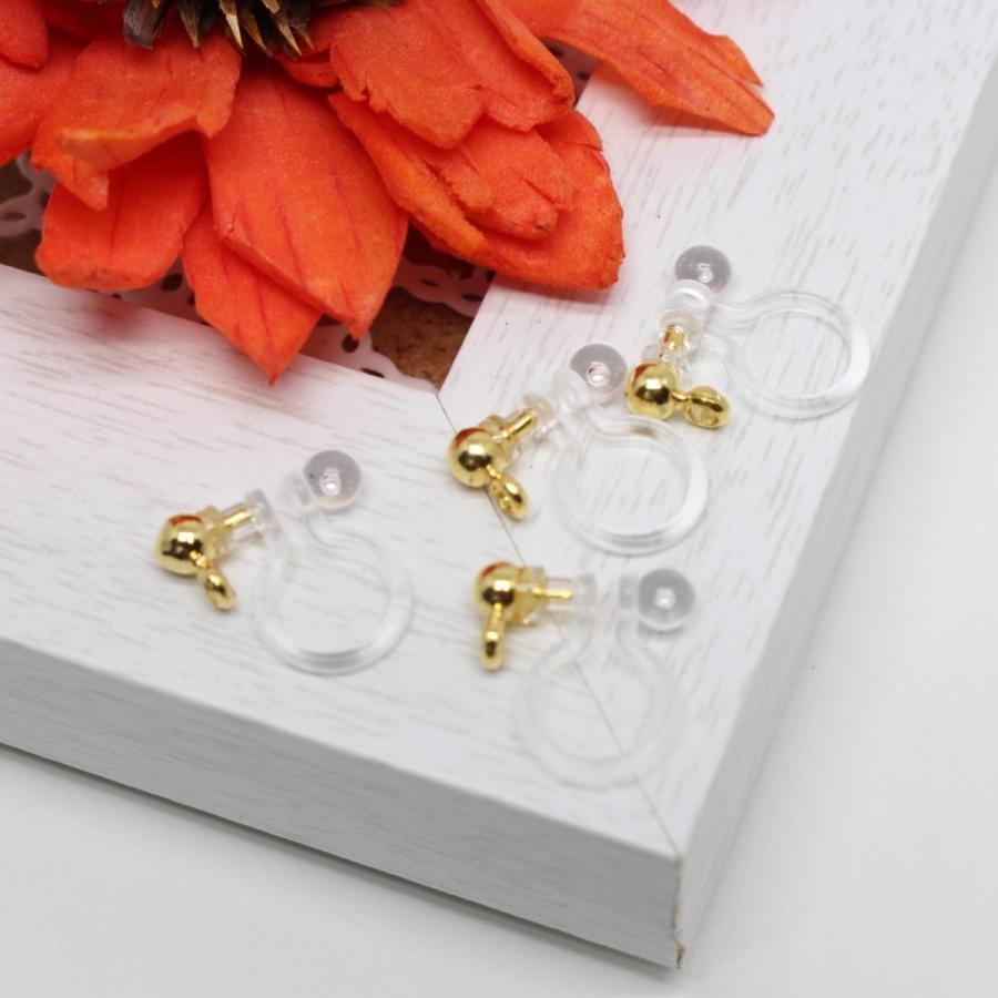 ノンホールピアス 樹脂 パーツ ゴールド 10個  カン付 イヤリング アクセサリーパーツ|lawnandvalleys|04