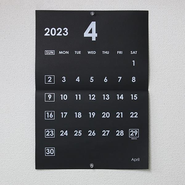 春の新作 カレンダー 黒い紙 A3 2021年 直輸入品激安 白黒反転 4月始まり 中綴じ 1月始まり選択可
