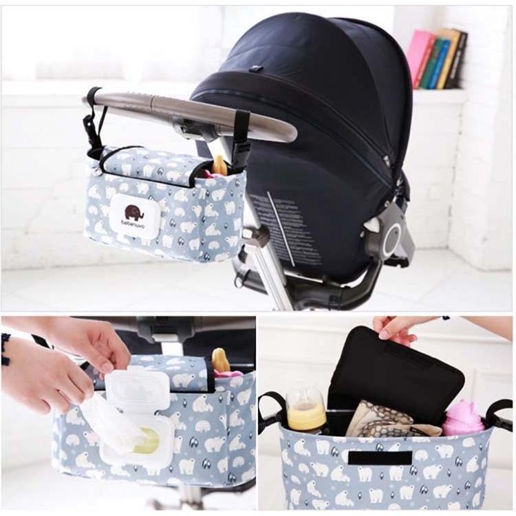 ベビーカーバッグ オーガナイザー 収納バッグ ママ助け フラップ付きマザーズバッグ多機能小物入れ ドリンクホルダー ティッシュポーチ付き lcsime-shop 05