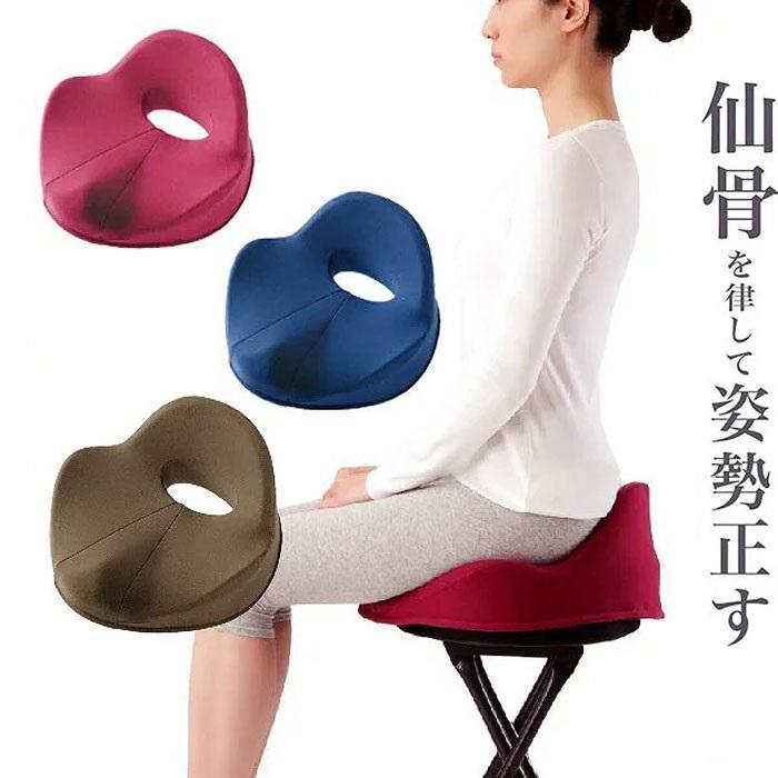 仙骨クッション 仙律 骨盤 猫背 姿勢 背筋 サポート 腰痛 クッション 座椅子 デスクワーク 腰の負担を軽減するクッション オフィスチェア 3D 高反発 送料無料 le-cure