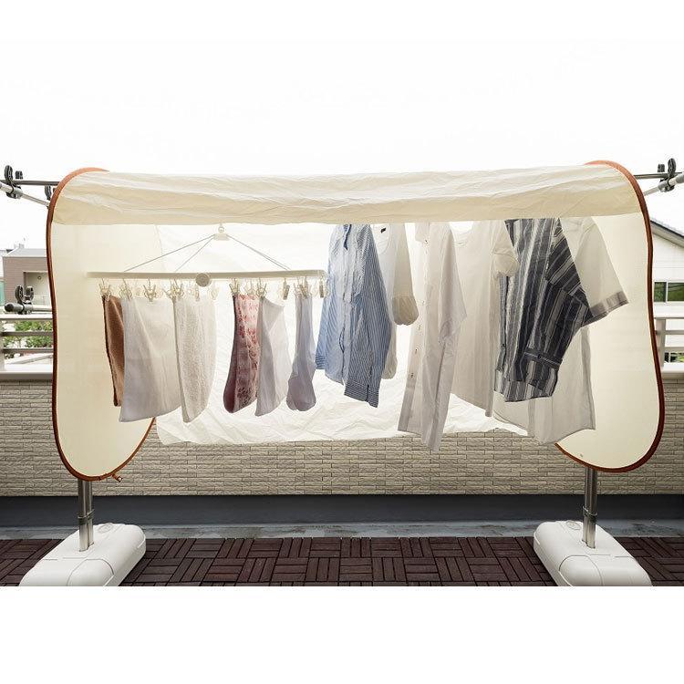 洗濯物保護カバー 洗濯日和ネクスト ワイド 幅160cm ベージュ 洗濯物カバー 雨よけ 花粉よけ 洗濯 目隠し ベランダ 黄砂 虫除け UV 屋外 梅雨対策 le-cure 05