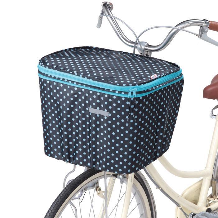 自転車カゴカバーセット 自転車 前カゴ 後ろカゴ カバー 二段式 防水 ブラックドット 前後セット 伸ばせる 大型 自転車のかごカバー le-cure 03