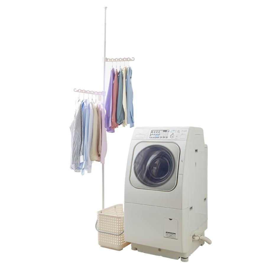 洗濯物干し 室内 突っ張り式 物干し ポール ハンガー スタンド 突っ張り棒 部屋干し グッズ 折りたたみ 洗濯機横 ランドリーラック すきま収納 梅雨対策|le-cure|11