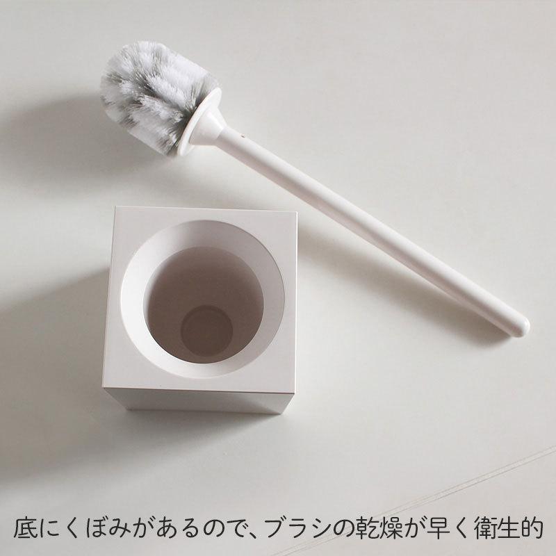 マーナ スクエアトイレブラシ W061W トイレブラシ セット トイレ掃除ブラシ ケース付き 白 スタンド トイレ 収納 衛生的 掃除 アラウーノ グッドデザイン 日本製 le-cure 04