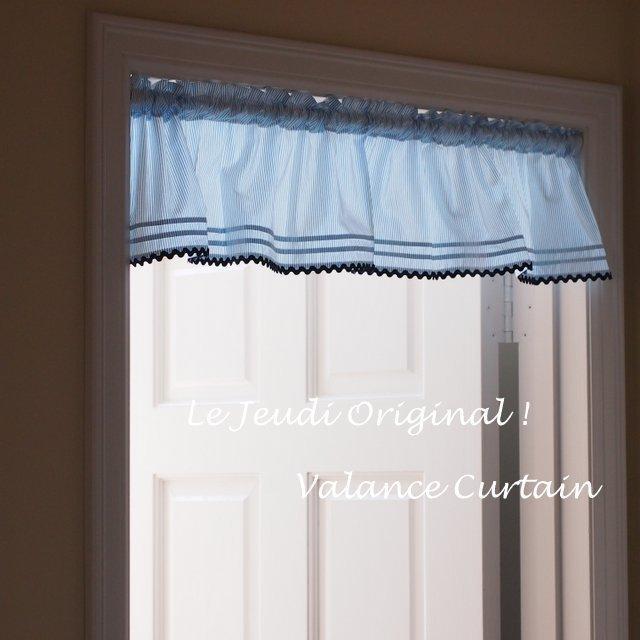 当店限定販売 激安通販販売 バランスカーテン ブルーストライプ 窓やドアの上飾りに 突っ張り棒で