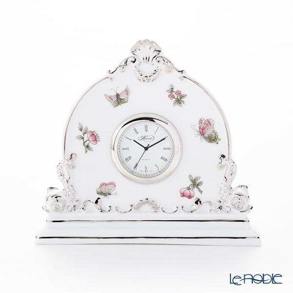 ヘレンド(Herend) ヴィクトリア・プラチナ VBOG-X1-PT 08083-0-00 テーブルクロック 12.5cm