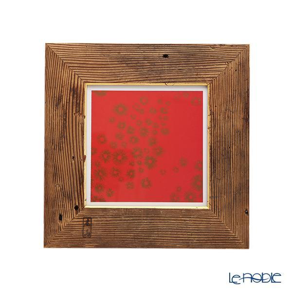【1点物】高野竹工 金閣寺古材 額縁フレーム/アートフレーム 小-A 十牛図版画付 27×27cm 写真立て