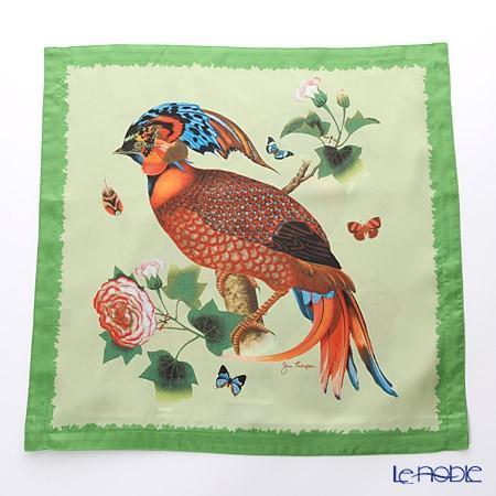 ジムトンプソン クッションカバー シルク フリル 0258B 南国の鳥/花/蝶 グリーン
