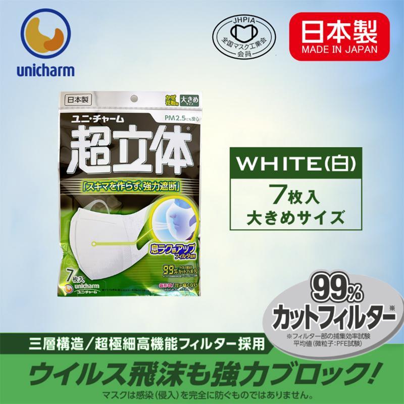 日本製マスク ユニチャーム 超立体マスク 大きめサイズ ふつうサイズ 小さめサイズ 7枚入 全国マスク工業会会員企業 かぜ 花粉 PM2.5 Unicharm mask leathercity 04