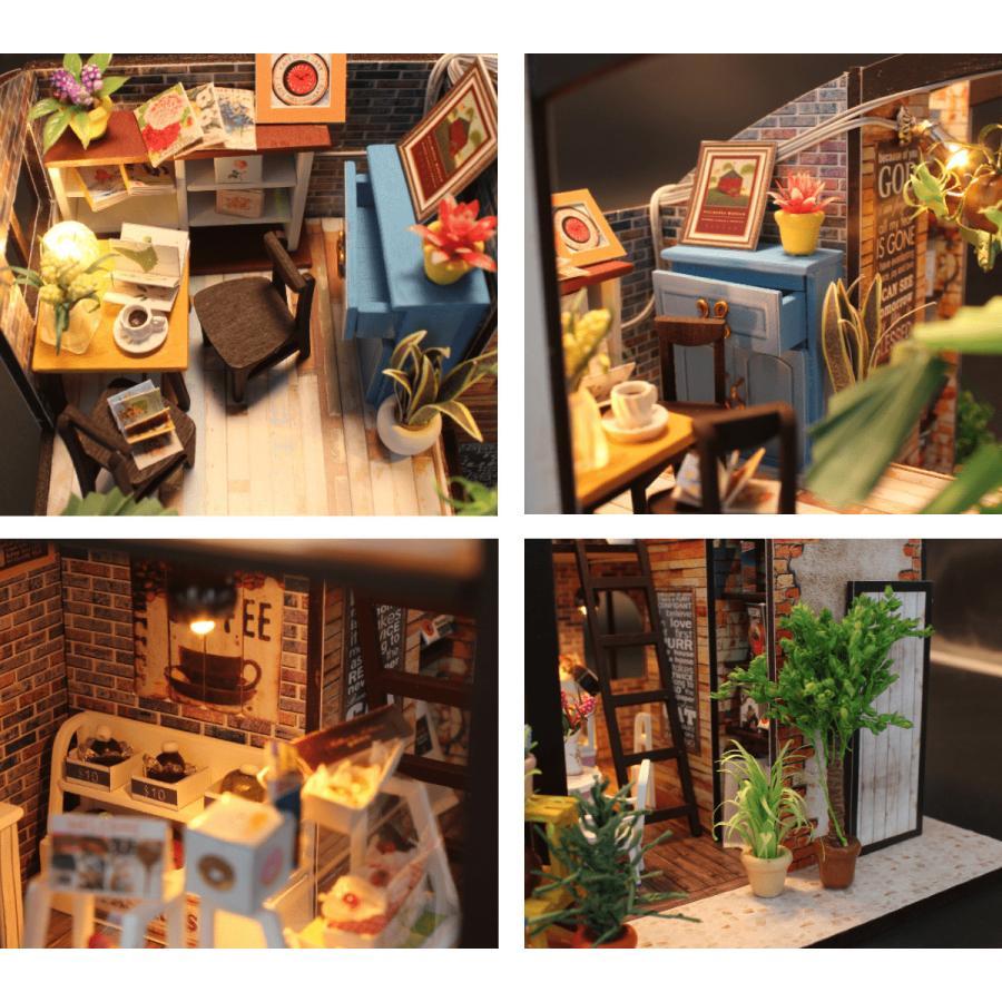 ミニチュアドールハウス コーヒーハウス DIY ホンガクラフト|lebenwood|03