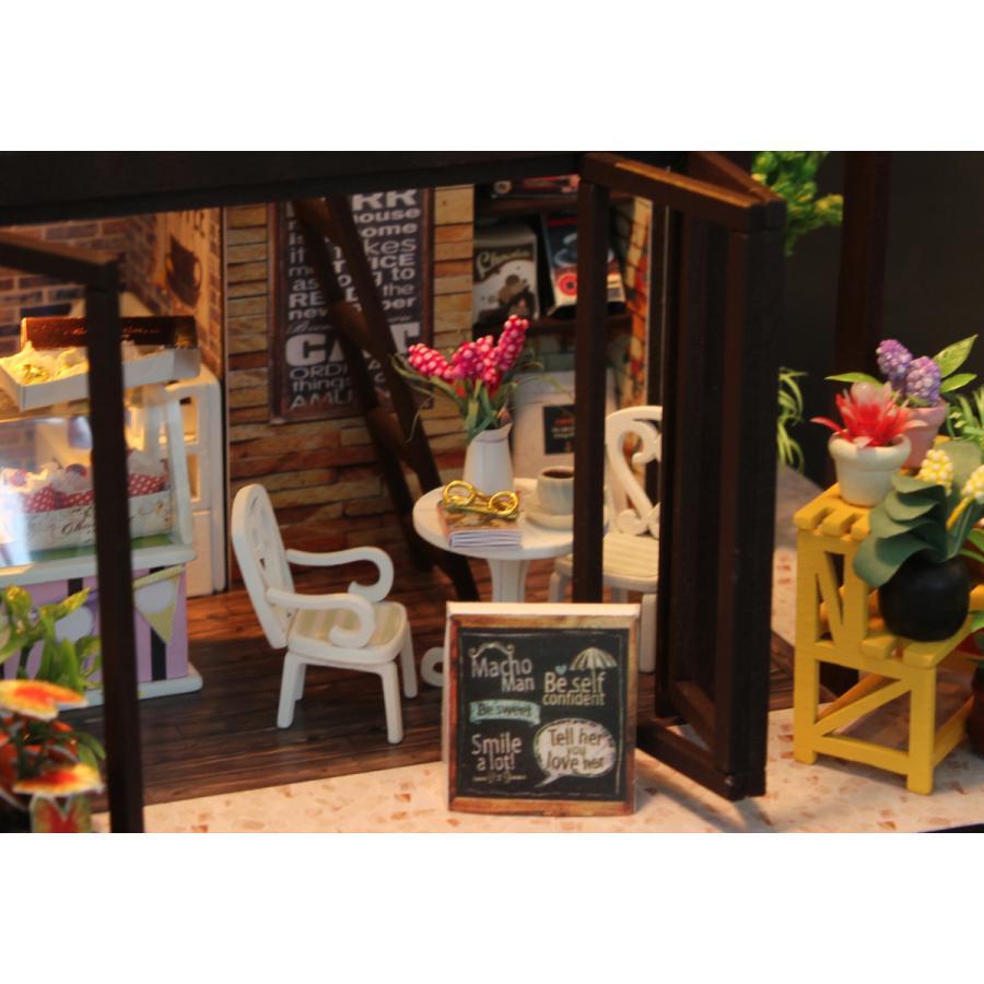 ミニチュアドールハウス コーヒーハウス DIY ホンガクラフト|lebenwood|10