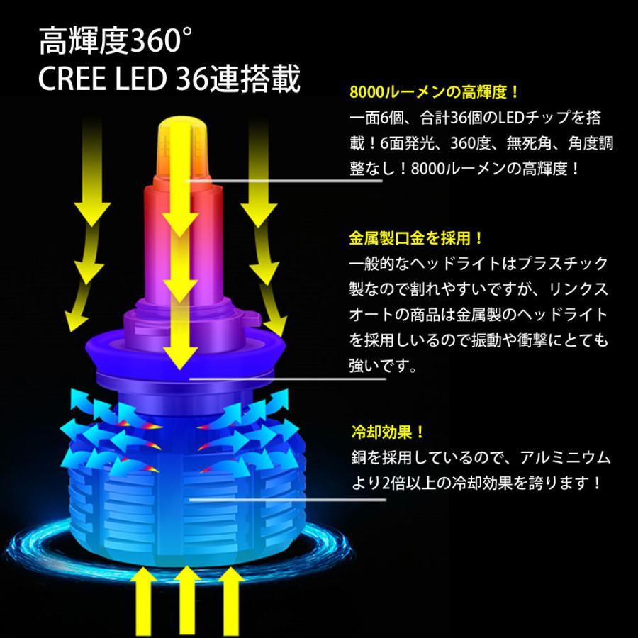 360度全面発光 LED HB3 ヘッドライト 車用 三菱 MITSUBISHI デリカ D:5 DELICA H19.1〜H31.1 CV5W 2灯 red Linksauto|lecky|02
