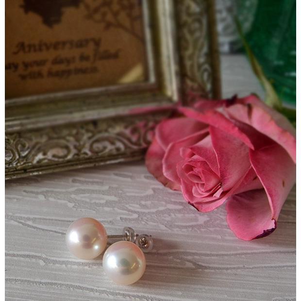 大玉10mmホワイト淡水真珠ピアス/イヤリング シャボン玉カラー浮かぶ大珠ラウンド!最高品質のパールをお楽しみください lecollier 02