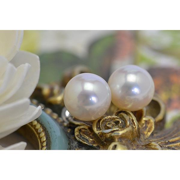 大玉10mmホワイト淡水真珠ピアス/イヤリング シャボン玉カラー浮かぶ大珠ラウンド!最高品質のパールをお楽しみください lecollier 04