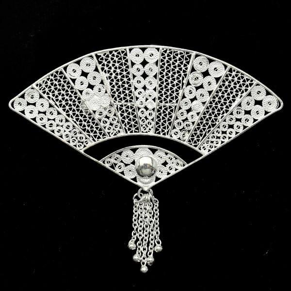 フィリグリー 扇 ブローチペンダント 美しい手仕事の繊細な銀線細工 ジョグジャカルタ メール便不可|lecollier|03