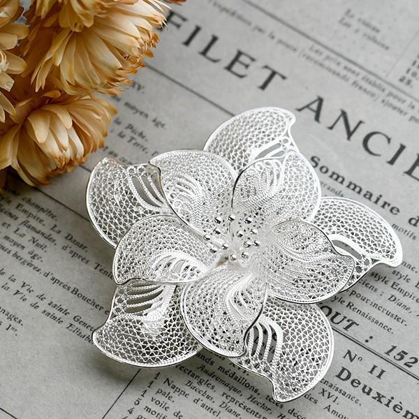 フィリグリー 花 ブローチペンダント 美しい手仕事の繊細な銀線細工 ジョグジャカルタ メール便不可 lecollier