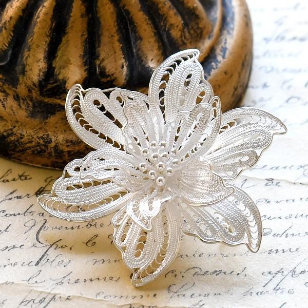 フィリグリー フラワー ブローチペンダント 美しい手仕事の繊細な銀線細工 ジョグジャカルタ メール便不可|lecollier