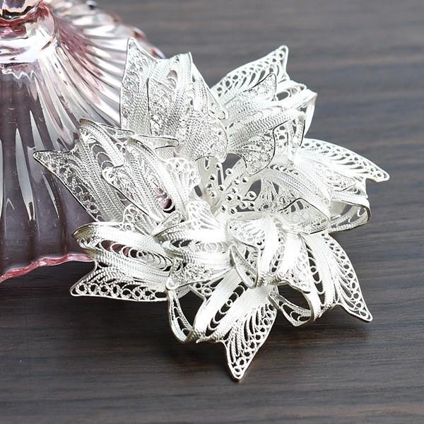 フィリグリー リボン フラワー ブローチ 美しい手仕事の繊細な銀線細工 ジョグジャカルタ メール便不可|lecollier