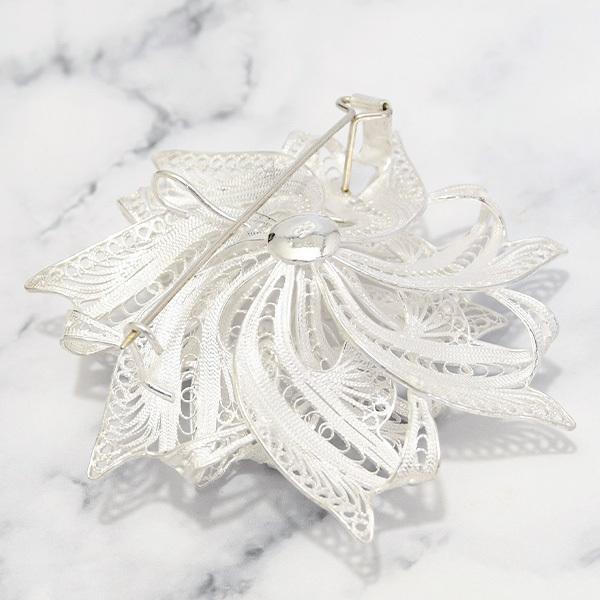 フィリグリー リボン フラワー ブローチ 美しい手仕事の繊細な銀線細工 ジョグジャカルタ メール便不可|lecollier|05