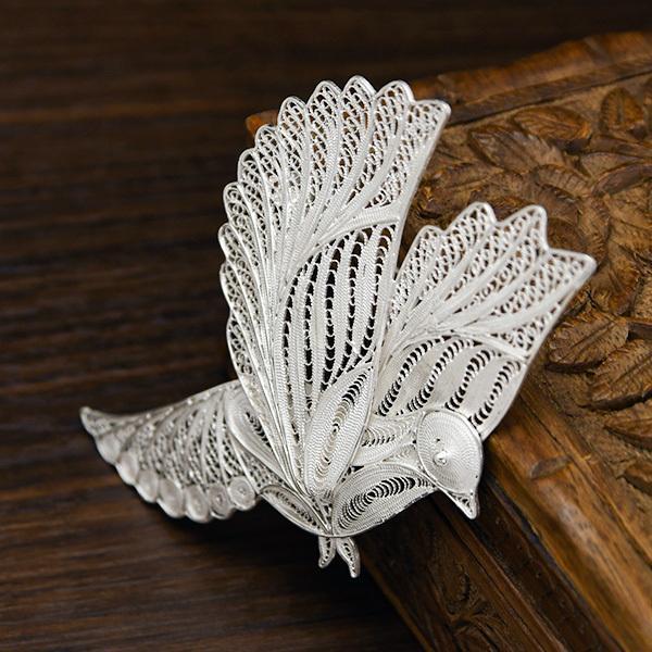 フィリグリー バード ブローチペンダント 美しい手仕事の繊細な銀線細工 ジョグジャカルタ KA79 A.D01.3468|lecollier|05