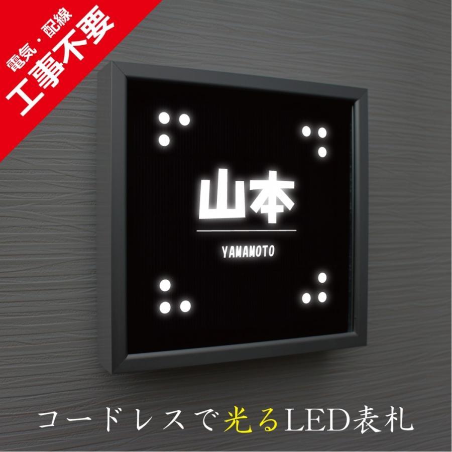 LED表札 シルバーフレーム S01「ドット」 ソーラー内蔵 電気工事なしでも光る