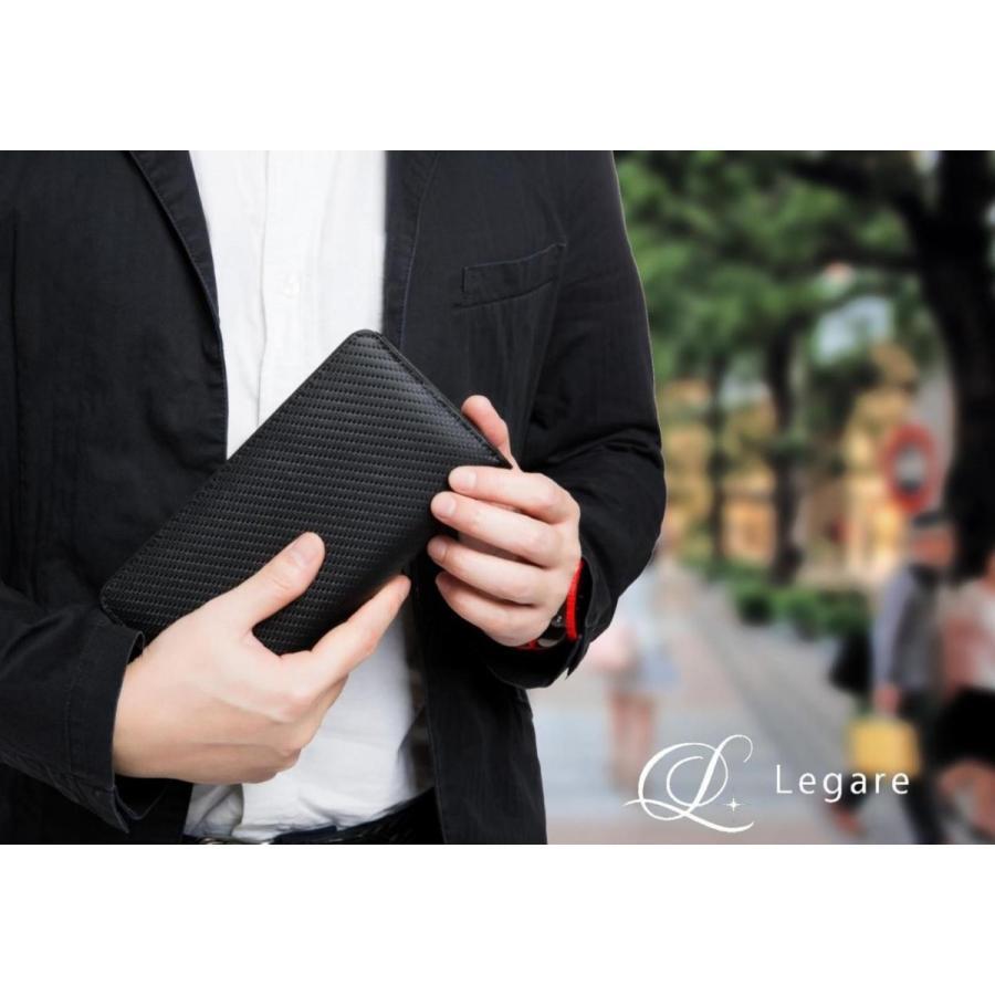 長財布 メンズ 財布 二つ折り ブランド カーボン レザー 大容量 スマホ も入る 多機能 レガーレ|legare-factory|08
