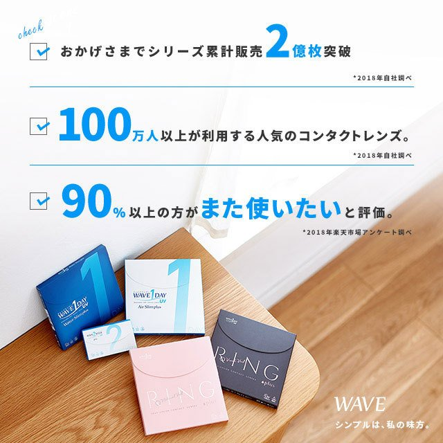 WAVEワンデーUV エアスリム plus 2箱 買い替え人気No.1 送料無料 ソフトコンタクトレンズ コンタクトレンズ 1DAY|lens-apple|04