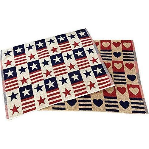 タオルの萩原 バスマット 2枚組 かわいい 激安通販ショッピング タオル bm2p 星条旗 ハートスター2枚組 カントリー 爆安