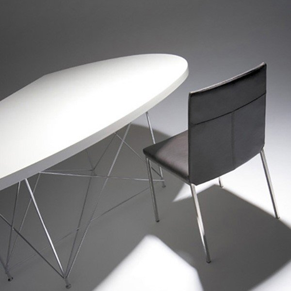 変形 ダイニングテーブル LOOP ループ W170 UV塗装 ホワイト クローム脚 日本製 オリジナル 送料無料|lepice|02