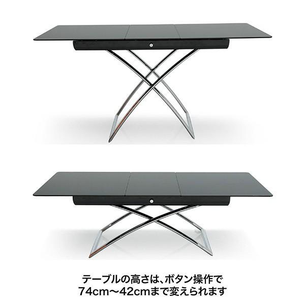 カリガリス マジックジェイ Magic-J  伸張式 昇降式 テーブル ブラックガラス天板 送料無料|lepice|02