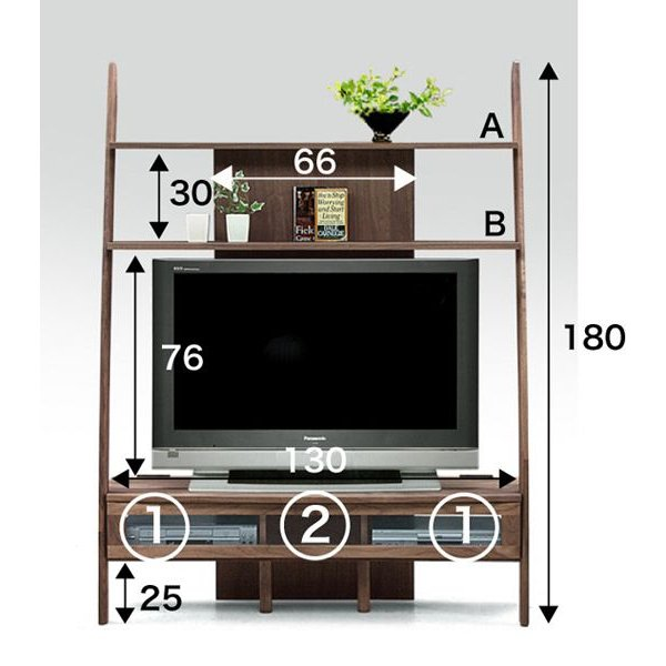 国産 テレビボード 135×43×180cm 46V型対応 ウォルナット オイル仕上げ|lepice|04