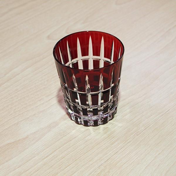 モダン切子 ロックグラス クロスストライプ レッド  切子 カットグラス 普段使い用 ギフト用|lepice|02