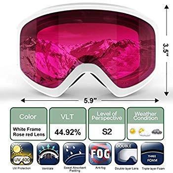 findway Kids Ski Goggles, Kids Snow Snowboard Goggles - Helmet Compati