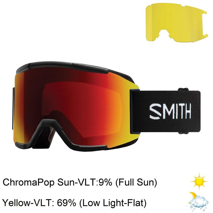 Smith Optics Squad Adult Snow Goggles - 黒/Chromapop Sun 赤 Mirror