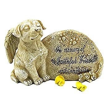 Elaan31 Dog Garden Statue Memorial Memorial Memorial Angel Pet Antique Stone In Memory O 14d