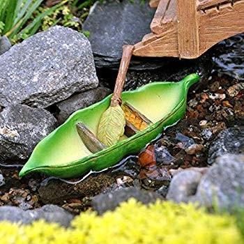 Miniature Fairy Garden Pea Pod Canoe