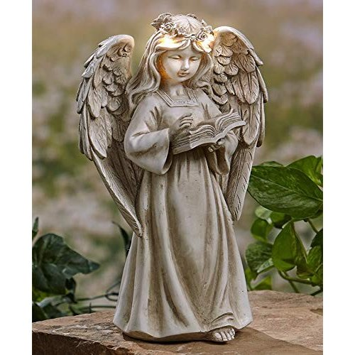 The Lakeside Collection Garden Angels with Solar Halos - Book