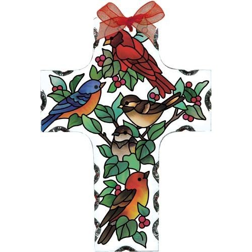 Birds of a Feather Feather Feather Cross Stained Glass Suncatcher (SX2501R) 78e