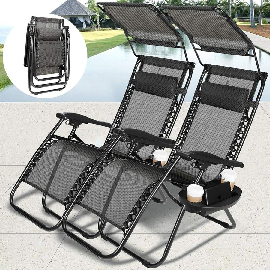 4-EVER Zero Gravity Outdoor Lounge Chair Adjustable Folding Patio Recl