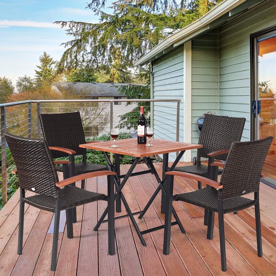 Tangkula Dining Chairs Outdoor Outdoor Indoor Garden Beach Lawn Patio