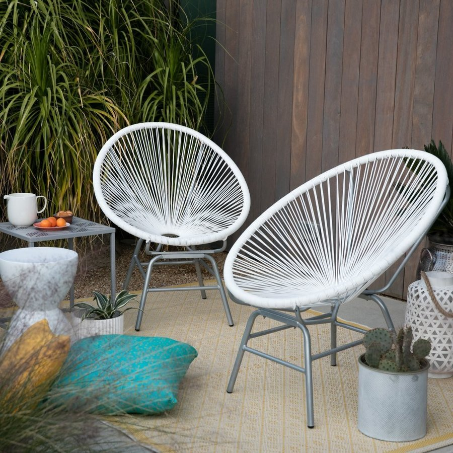 All-Weather Wicker Sun Chair Set of 2 in White and Gray Finish