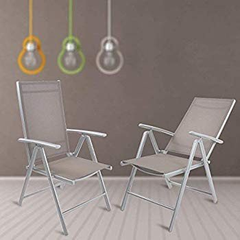 Dporticus Set of 2 Patio Folding Sling Back Chairs Aluminum Adjustable