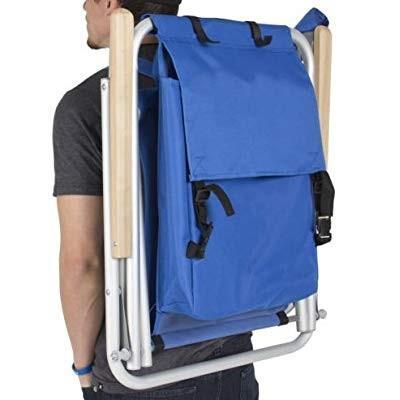 Beach Chair-Backpack Beach Chair Folding Portable Chair Blue Solid Con
