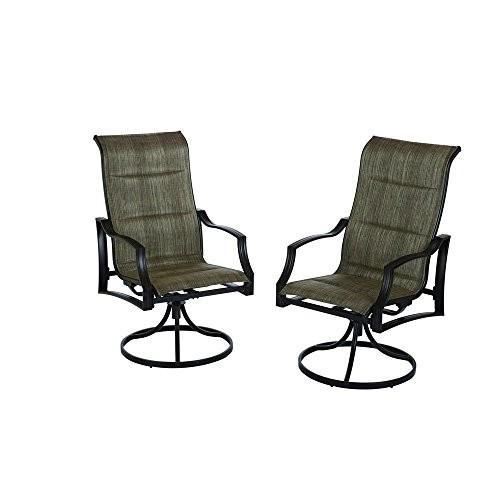 Hampton Bay Statesville Padded Sling Patio Lounge Swivel Chairs (2-Pac