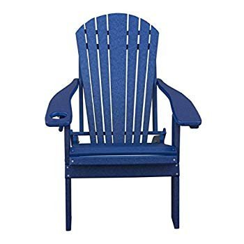 Deluxe Premium Poly Lumber Folding Adirondack Chair w/Cup Holder & Sma