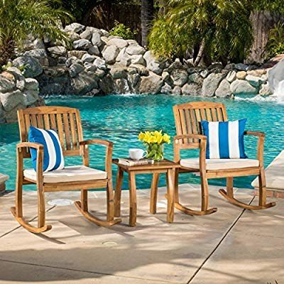Christopher Knight Home Lucca Outdoor Acacia Wood 3-piece Rocking Chai