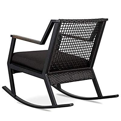 Real Flame Calvin Aluminum Patio Rocker in Black (Set of 2)