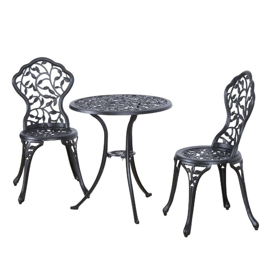 Cast Aluminum Patio Bistro Furniture Set 3pcs in Antique Black Outdoor